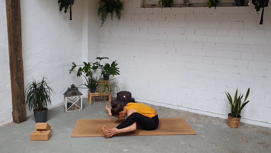 Yoga Vorbeuge , Übung gegen Rückenschmerzen Lilly Rugg . Osteopathie Münster